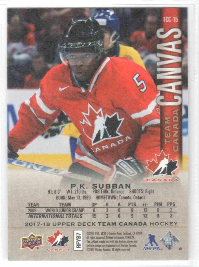 2017-18 Upper Deck Team Canada Canadian Tire Canvas P.K. Subban #TCC-15 card back image