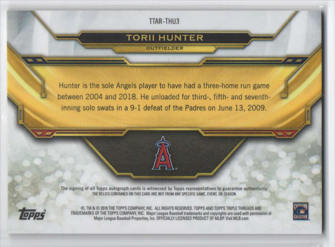 2019 Topps Triple Threads Autograph Relics Torii Hunter #TTAR-THU3 card back image