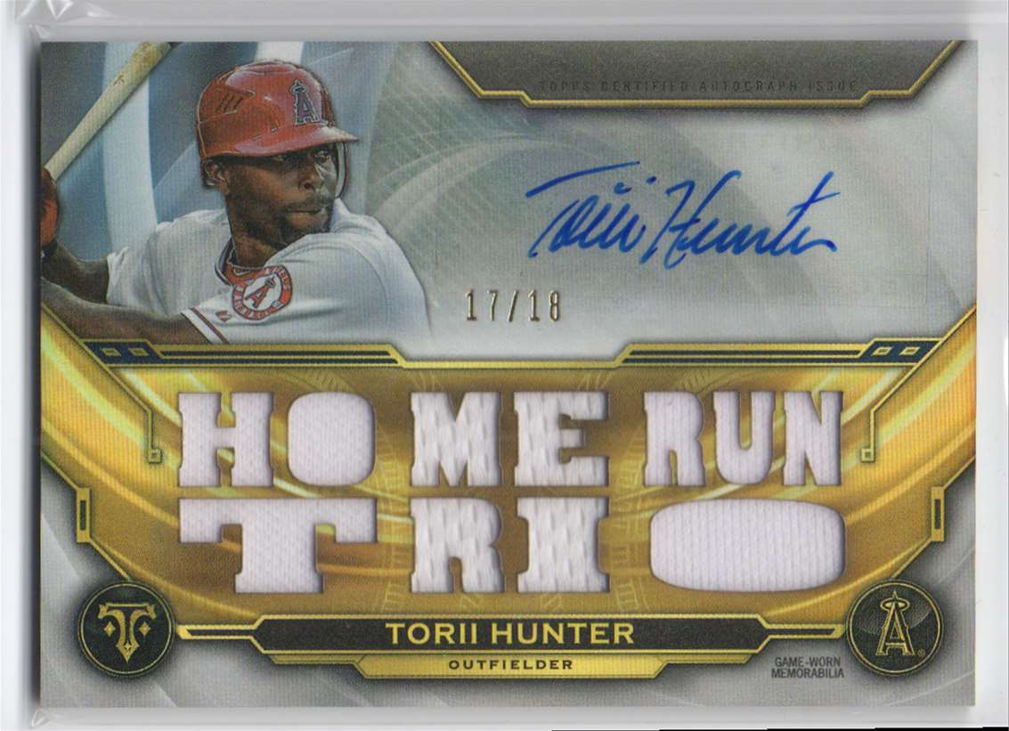 2019 Topps Triple Threads Autograph Relics Torii Hunter #TTAR-THU3 card front image