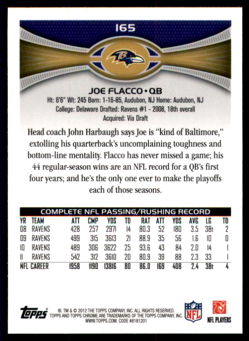 2012 Topps Chrome Joe Flacco #165 card back image