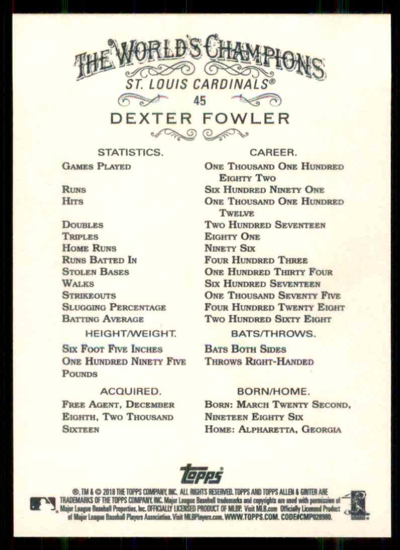 2018 Topps Allen & Ginter Dexter Fowler #45 card back image