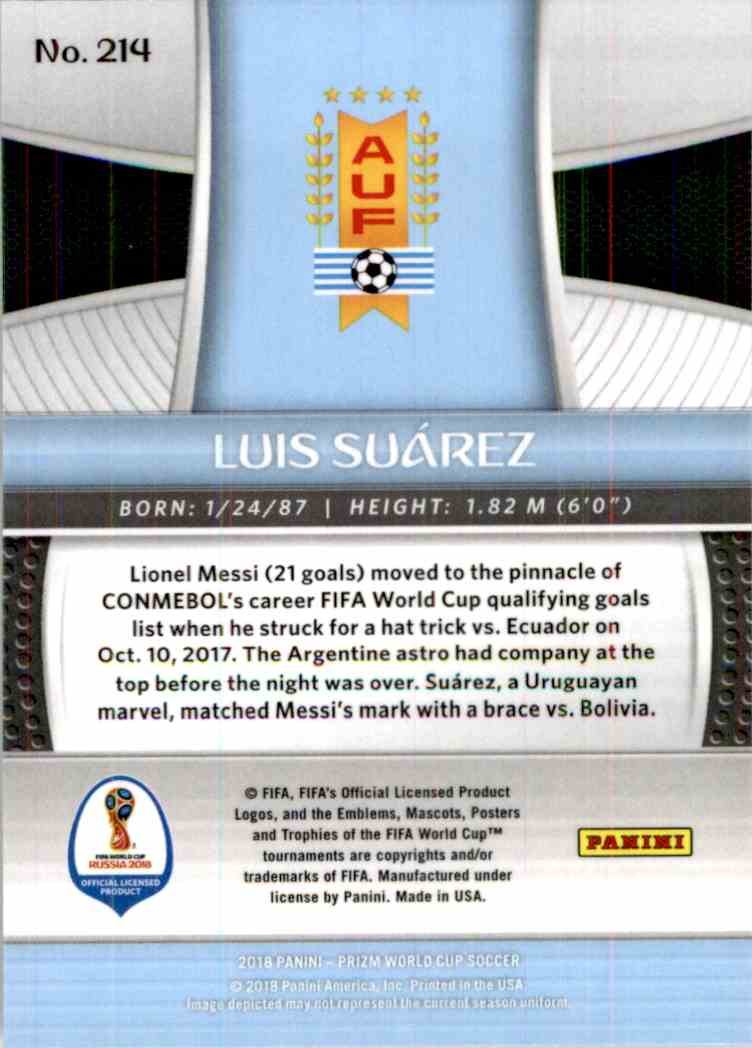 2018 Panini Prizm World Cup Luis Suarez #214 card back image