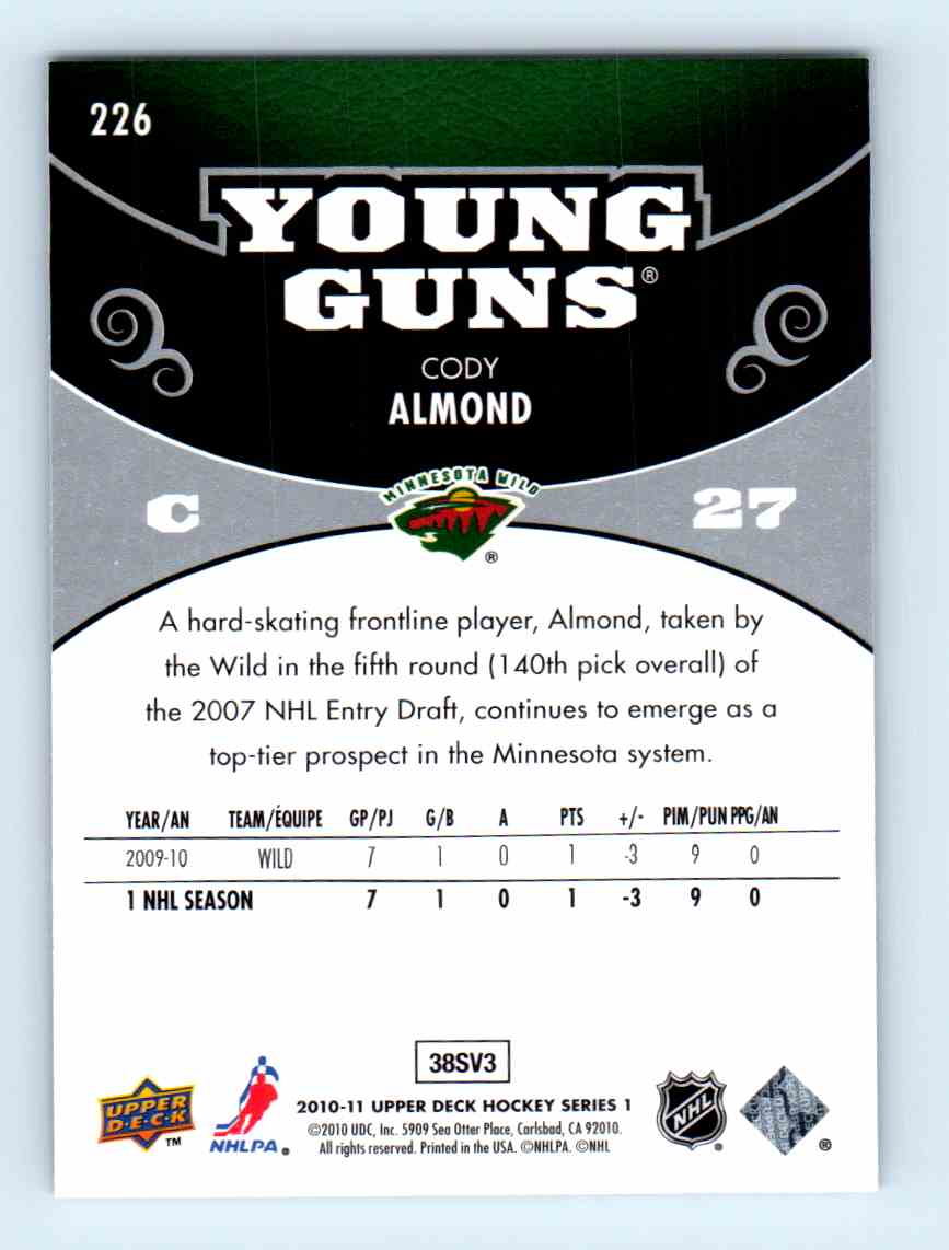 2010-11 Upper Deck Young Guns Cody Almond #226 card back image