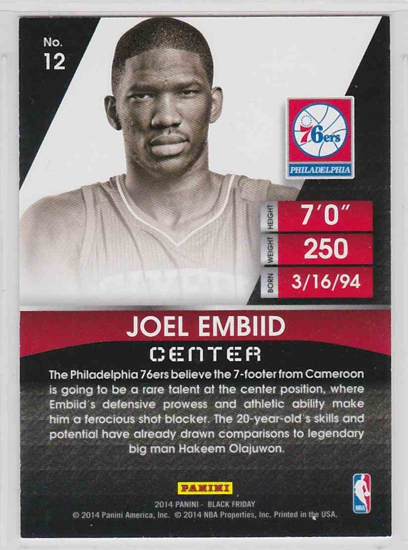 2014-15 Panini Black Friday Joel Embiid #12 card back image