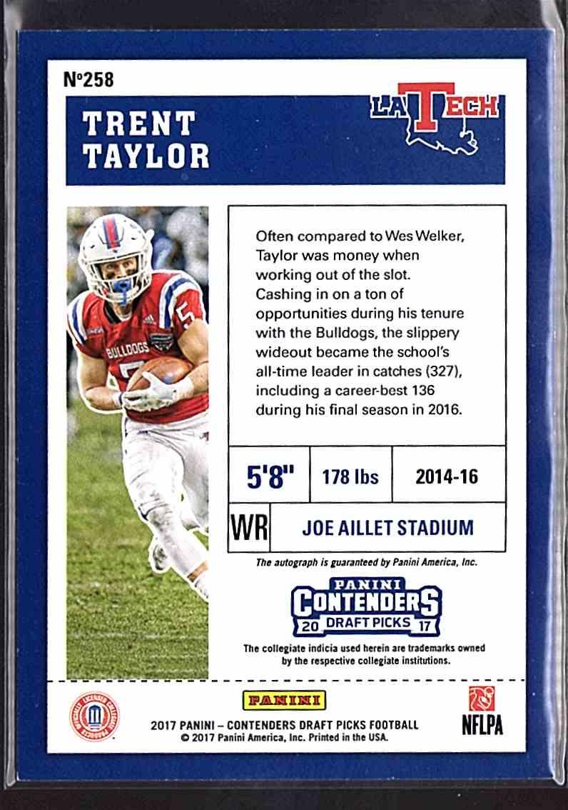 2017 Panini Contenders Draft Picks Trent Taylor #258 card back image