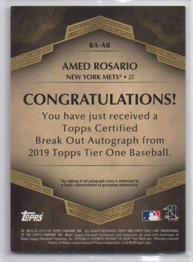 2019 Topps Tier One Break Out Autographs Bronze Ink Amed Rosario #BA-AR card back image
