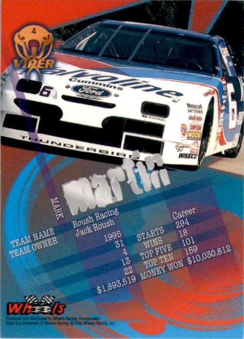 1996 Viper Mark Martin #4 card back image