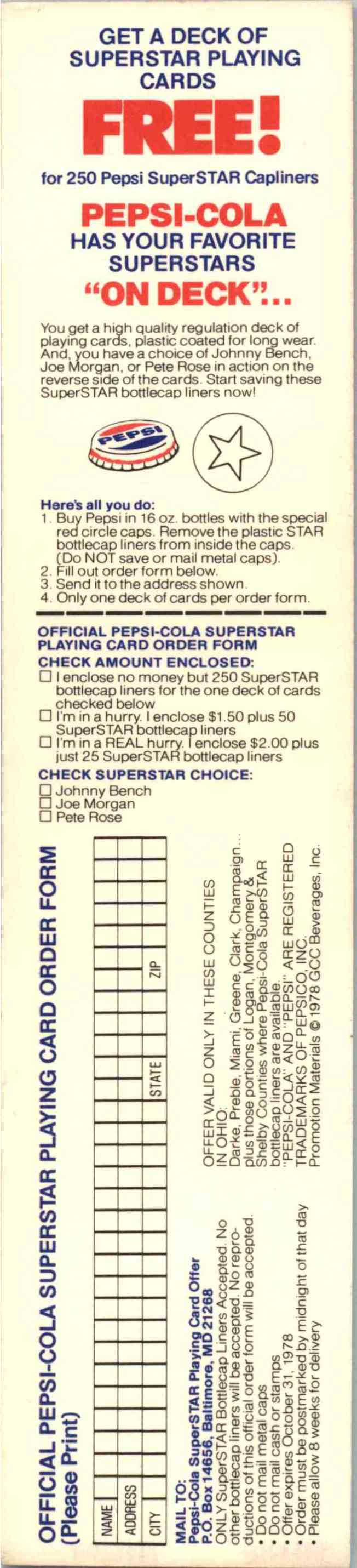1978 Pepsi Tabs Richie Zisk - #40 card back image