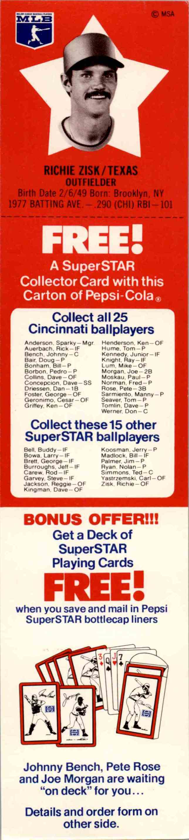 1978 Pepsi Tabs Richie Zisk - #40 card front image
