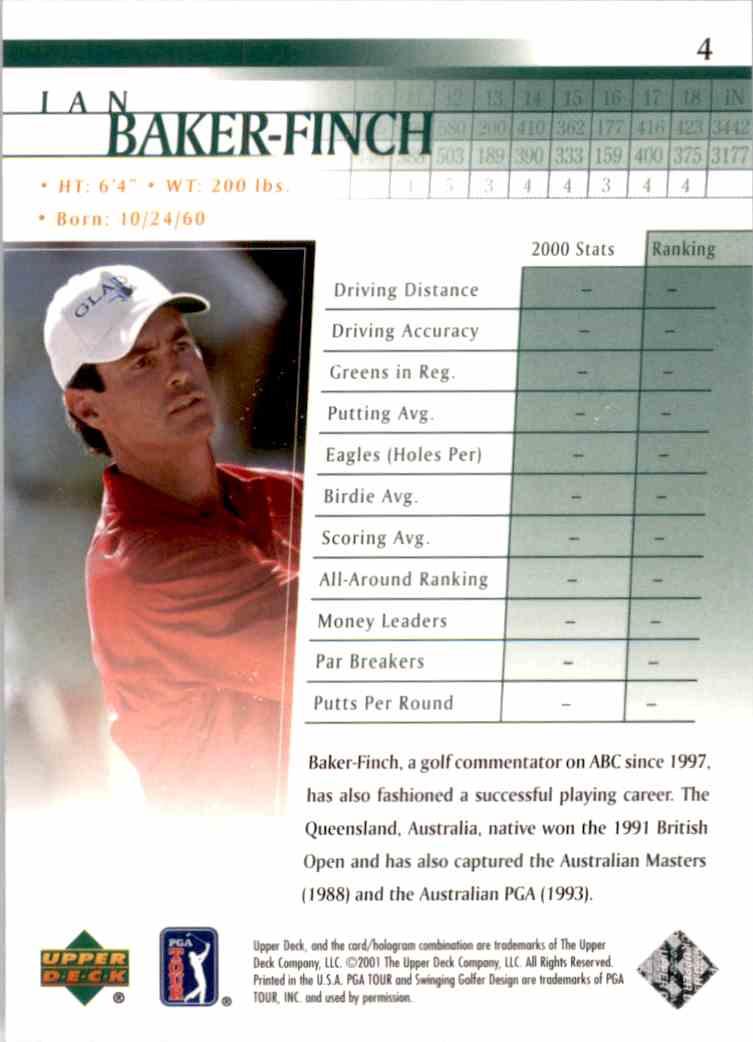 2001 Upper Deck Ian Baker-Finch #4 card back image