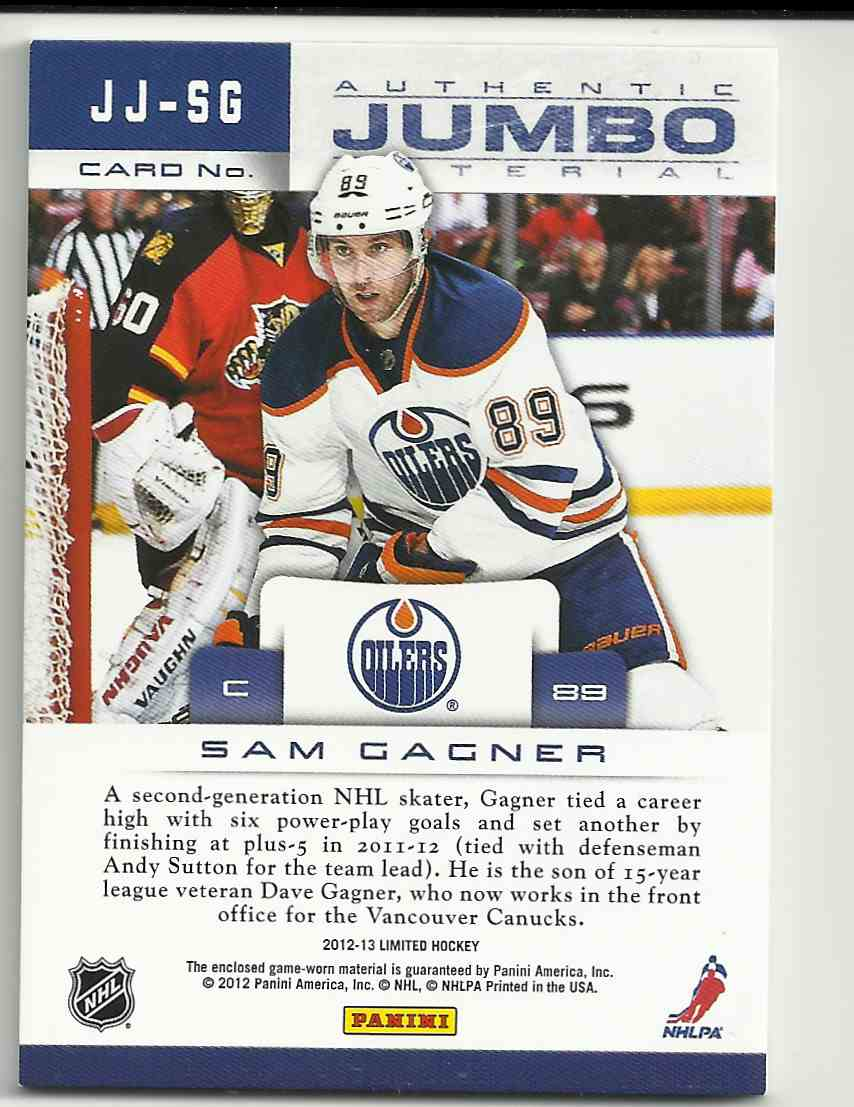 2012-13 Panini Limited Jumbo Materials Sam Gagner #JJ-SG card back image