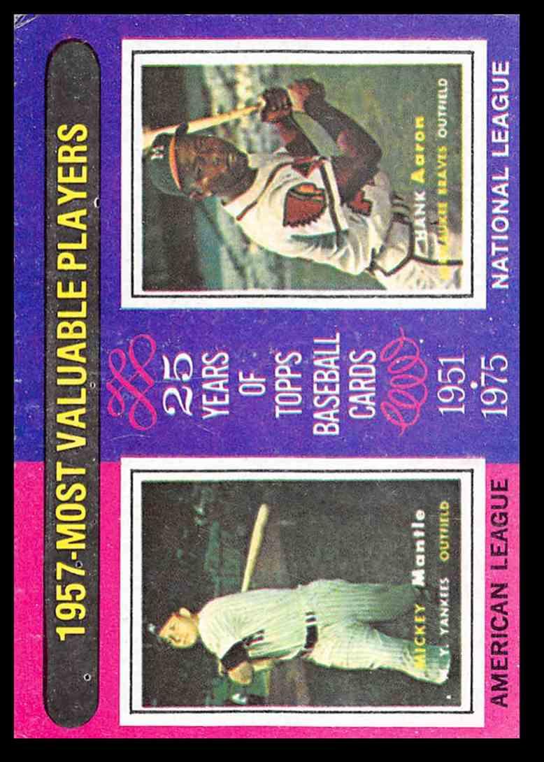 1975 Topps Mickey Mantlehank Aaron Mvp Baseball Card