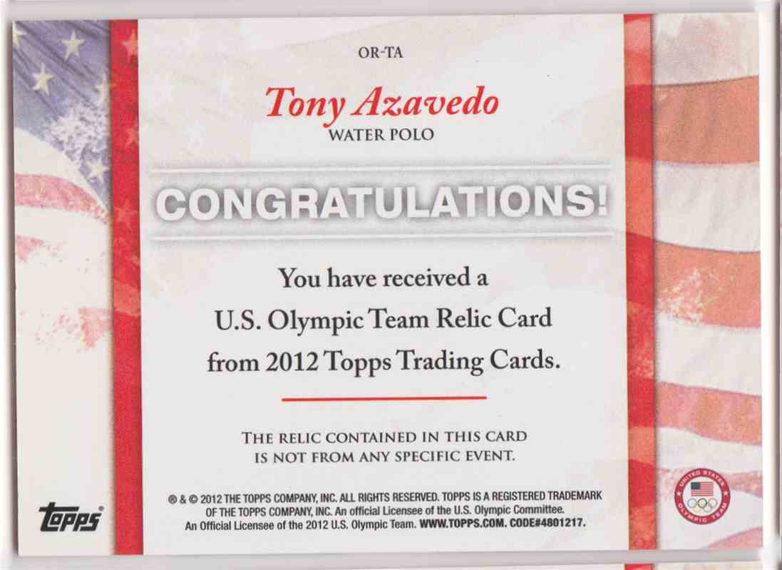 2012 Topps U.S. Olympic Team Relic Tony Azavedo #OR-TA card back image