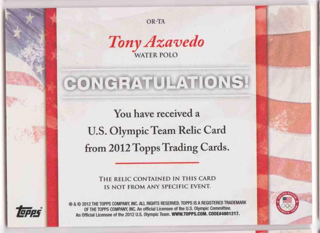 2012 Topps U.S. Olympic Team Relic Tony Azavedo #OR-TA card back image