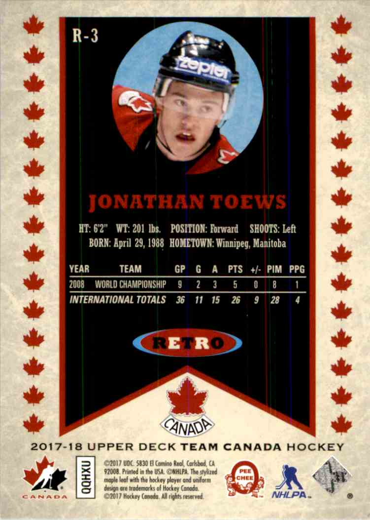 2017-18 Upper Deck Team Canada Retro Jonathan Toews #R-3 card back image