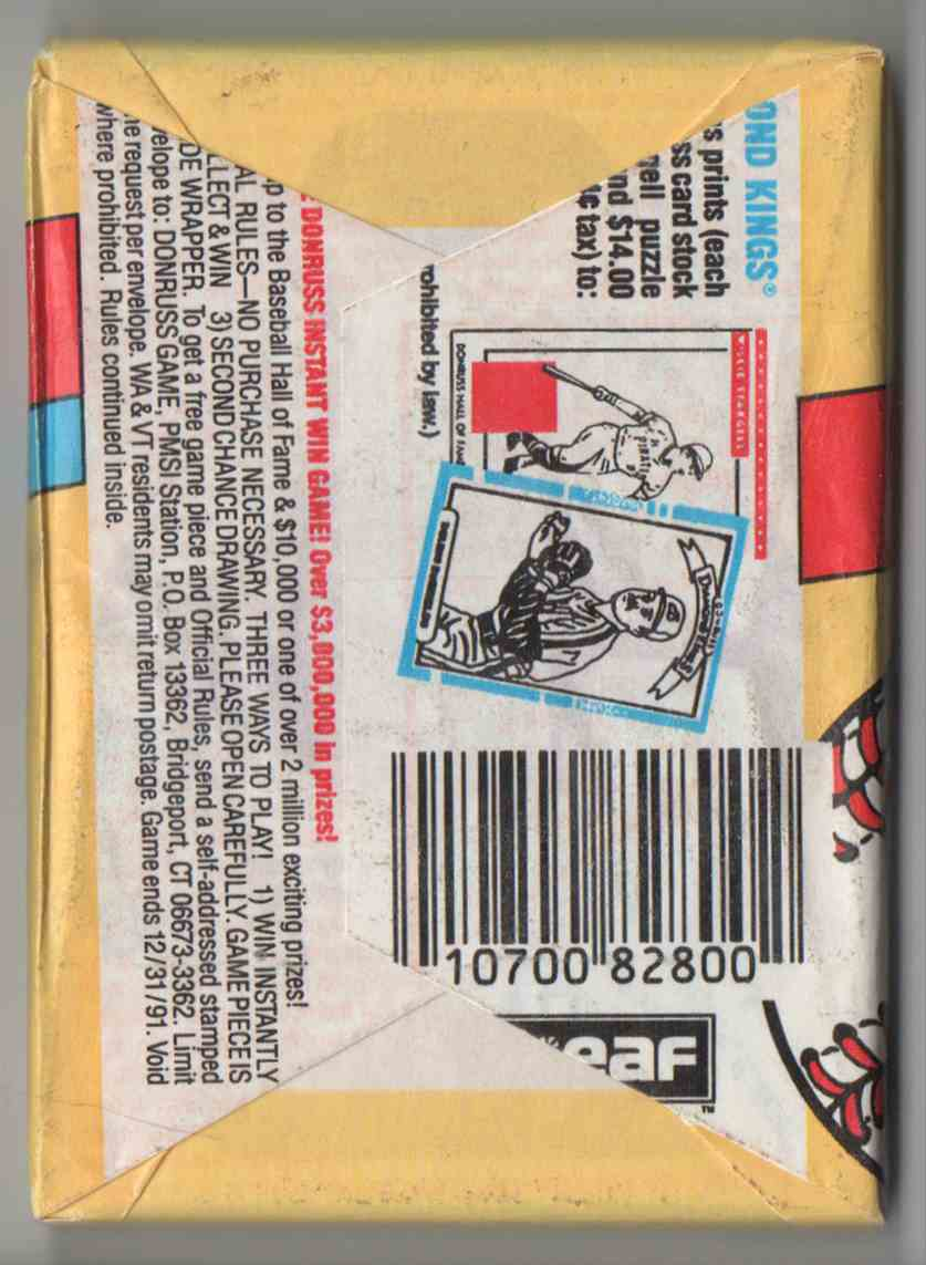 1991 Donruss Series 1 Unopened Pack #15 card back image