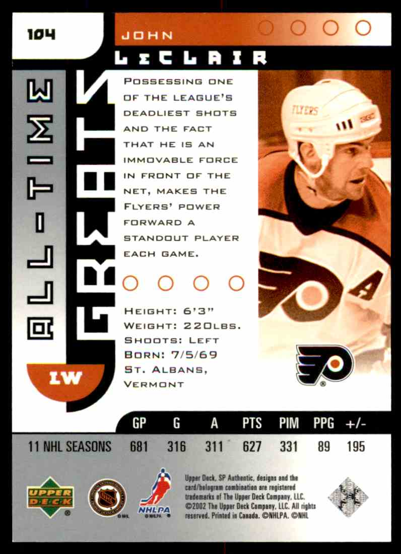 2001-02 SP Authentic John LeClair #104 card back image
