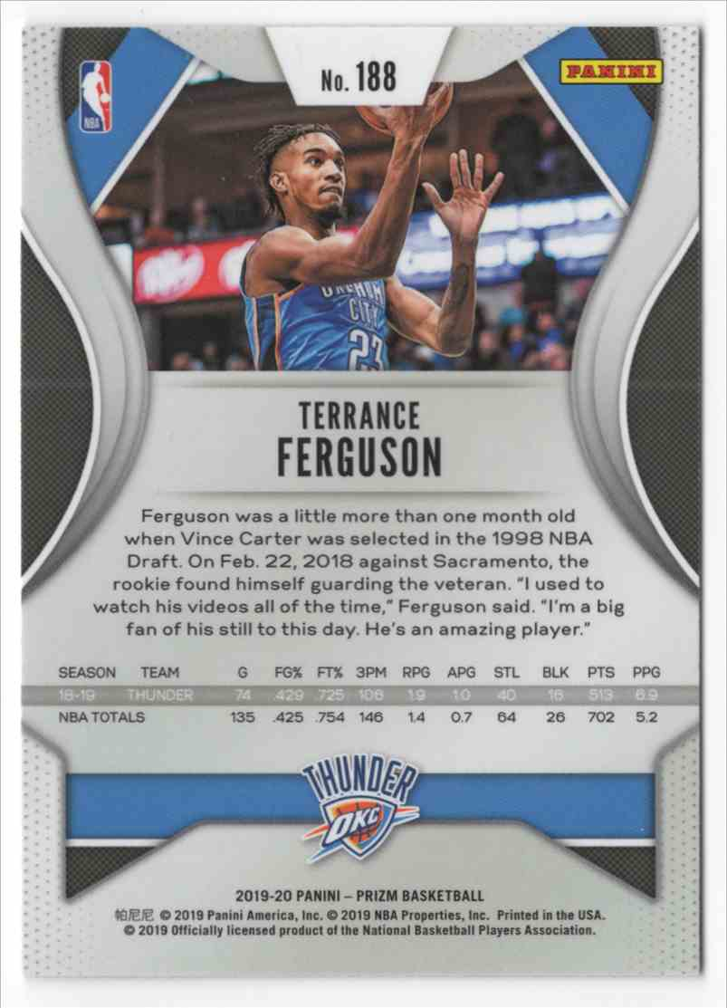 2019-20 Panini Prizm Terrance Ferguson #188 card back image