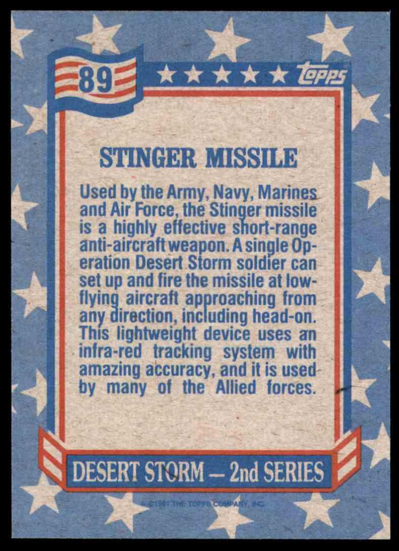 1991 Desert Storm Topps Stinger Missile #89 card back image