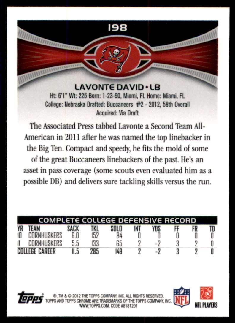 2012 Topps Chrome Lavonte David RC #198 card back image