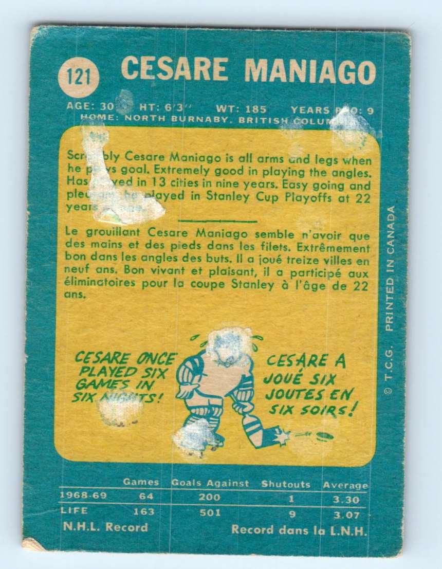1969-70 Topps Cesare Maniago #121 card back image