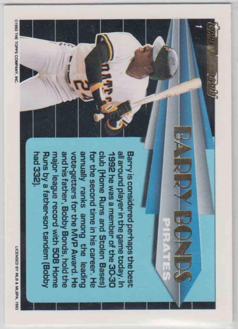 1993 Topps Black Gold Barry Bonds #1 card back image