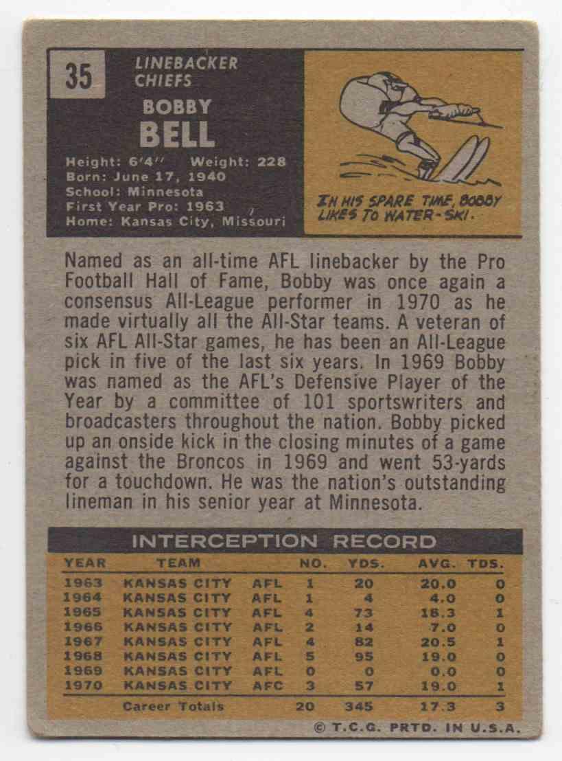 1971 Topps Bobby Bell #35 card back image