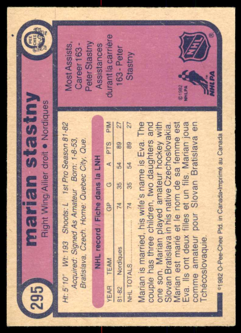 1982-83 OPC Marian Stastny #295 card back image