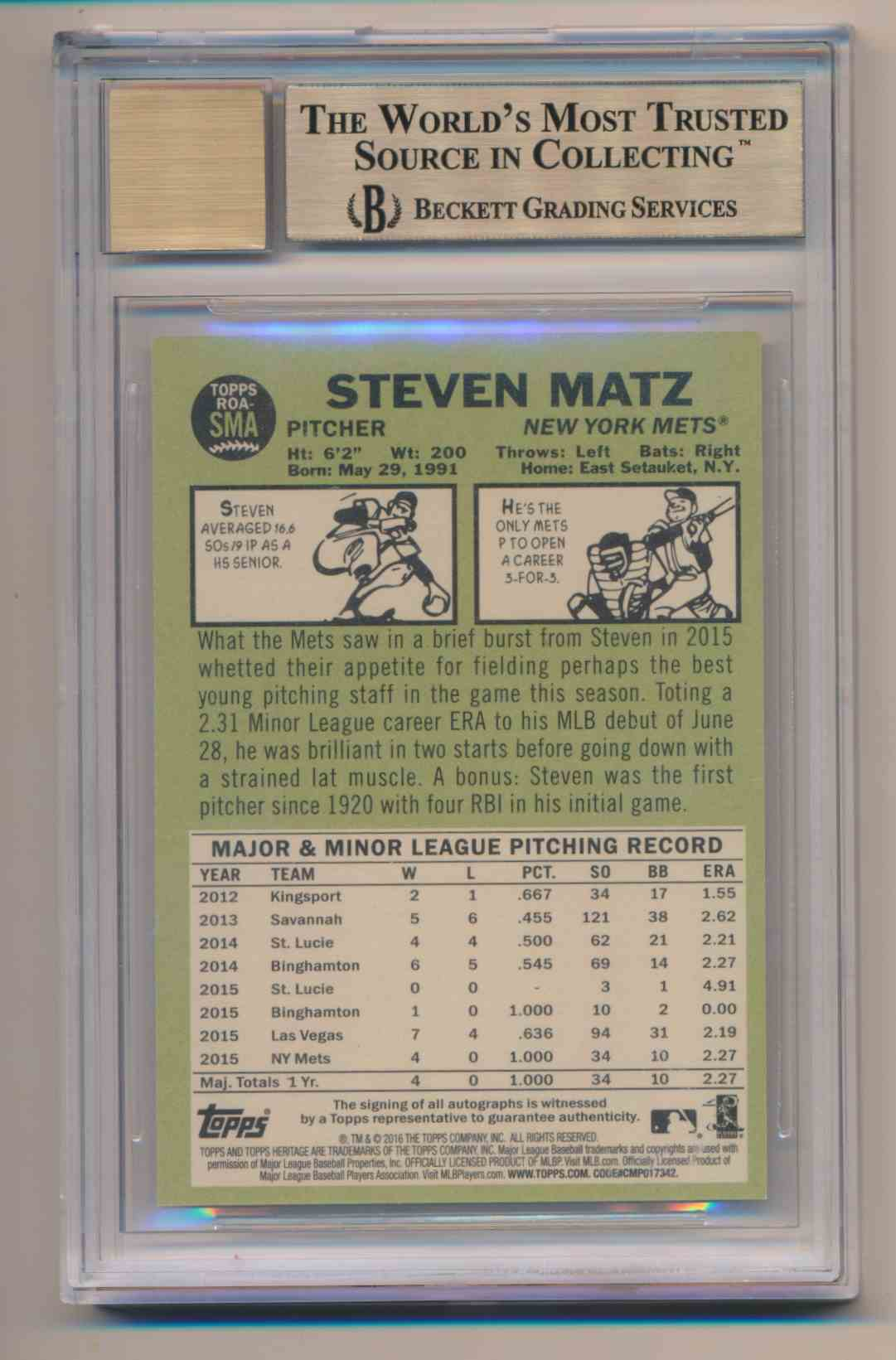 2016 Topps Heritage BGS 9.5 10 Auto Steve Matz Red Ink card back image