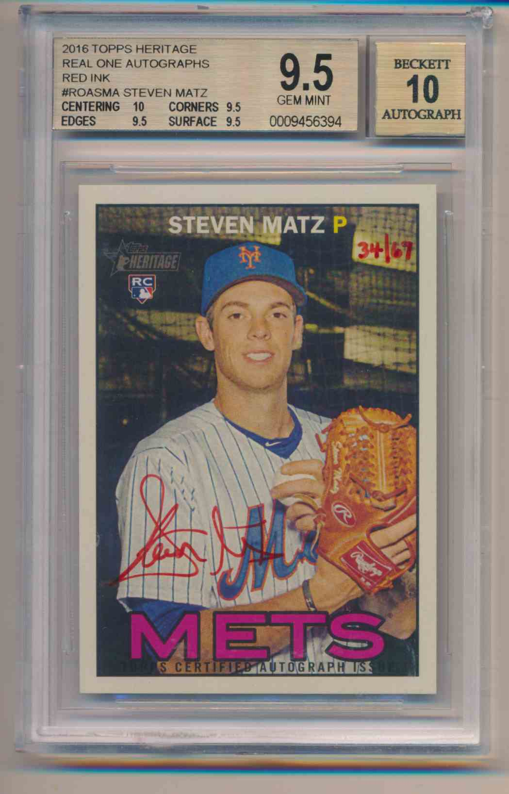 2016 Topps Heritage BGS 9.5 10 Auto Steve Matz Red Ink card front image