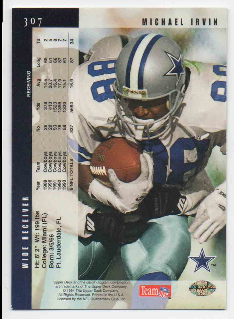 1994 Upper Deck Michael Irvin #307 card back image
