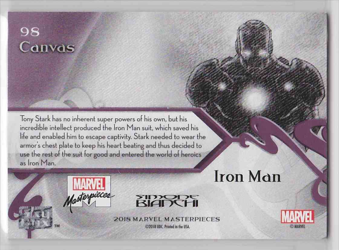 2018 Marvel Masterpieces Canvas Gallery Iron Man #98 card back image