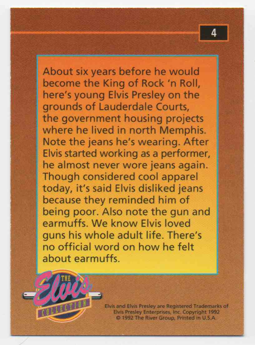1992 The Elvis Collection Elvis Early Days #4 card back image