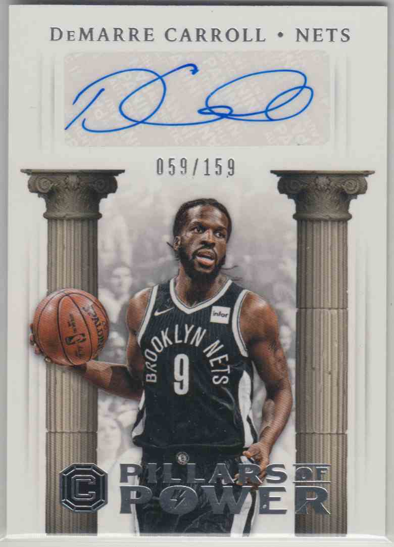 2017-18 Panini Cornerstones Pillars Of Power Autographs DeMarre Carroll #PP-DMC card front image