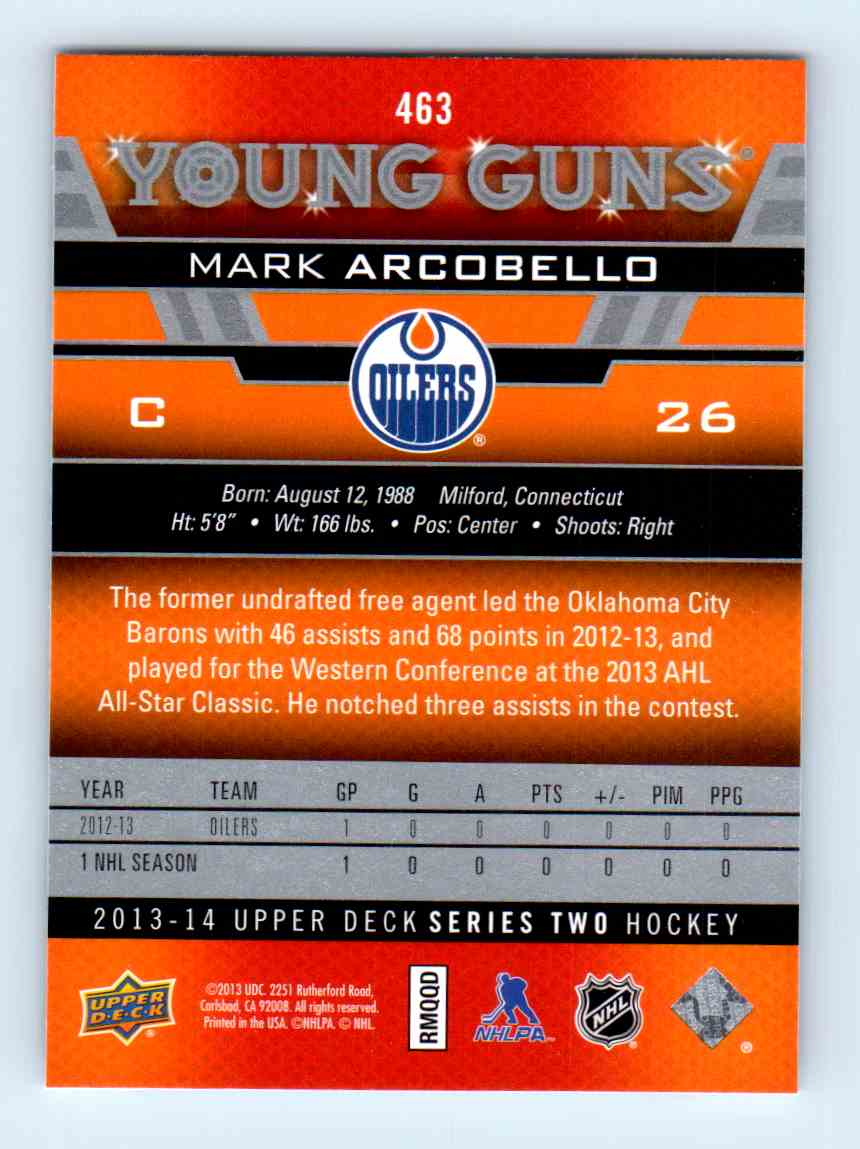 2013-14 Upper Deck Young Guns Mark Arcobello #463 card back image