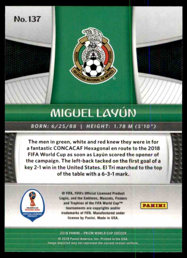7d45dd82f Real card back image 2018 Panini Prizm World Cup Miguel Layun  137 card  back image