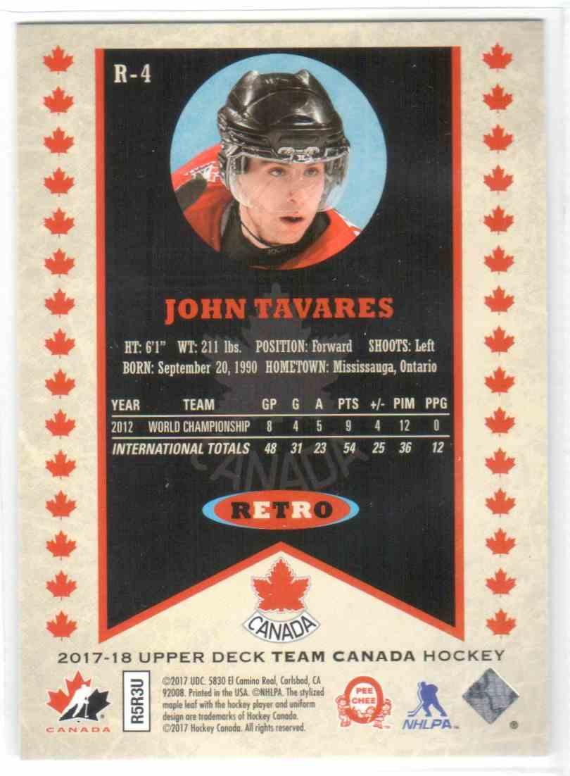 2017-18 Upper Deck Team Canada Canadian Tire Retro John Tavares #R-4 card back image