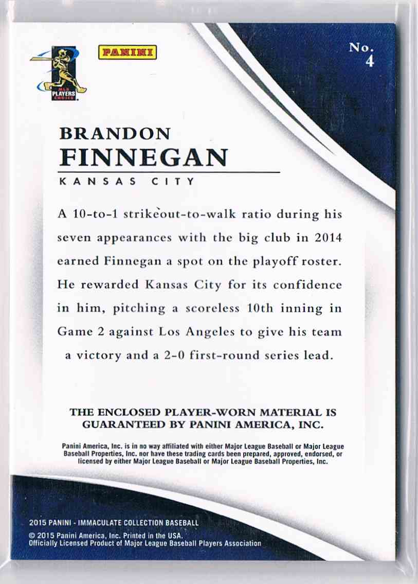 2015 Panini Immaculate Brandon Finnegan card back image