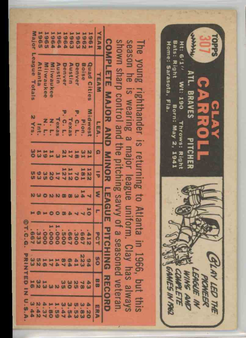 1966 Topps Clay Carroll #307 card back image