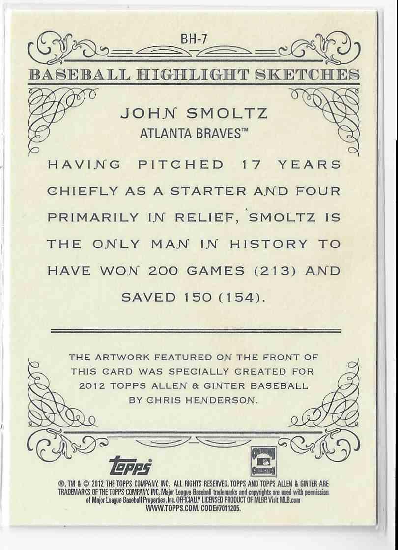 2012 Topps Allen & Ginter John Smoltz #BH-7 card back image