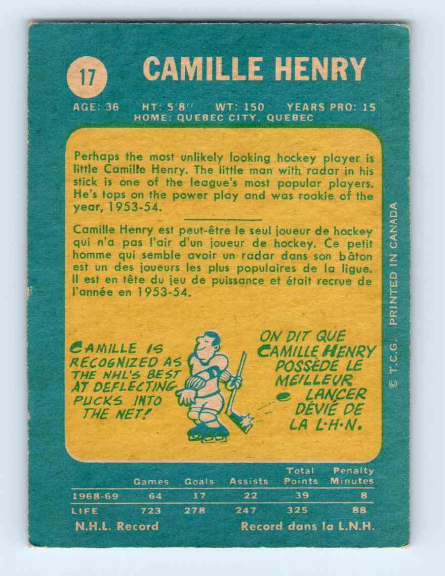 1969-70 Topps Camille Henry #17 card back image