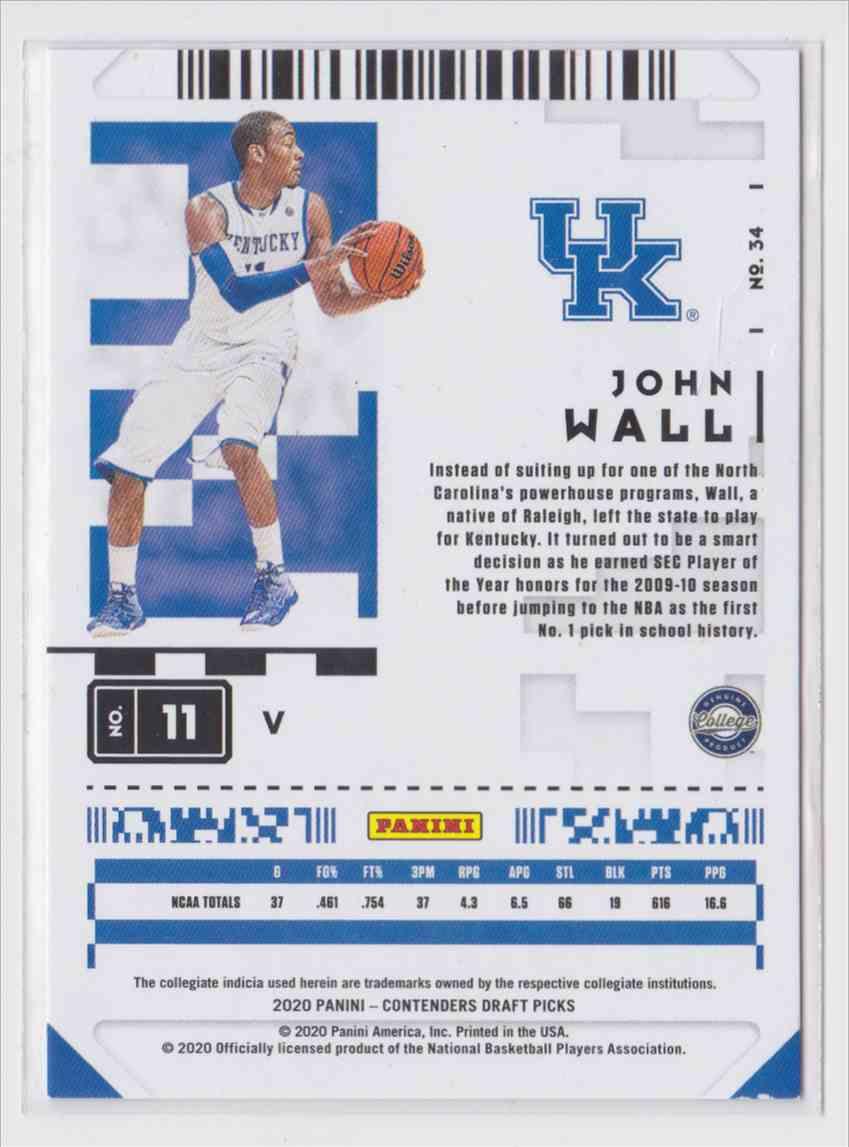 2020-21 Panini Contenders Draft Picks Prospect  Ticket John Wall #34 card back image