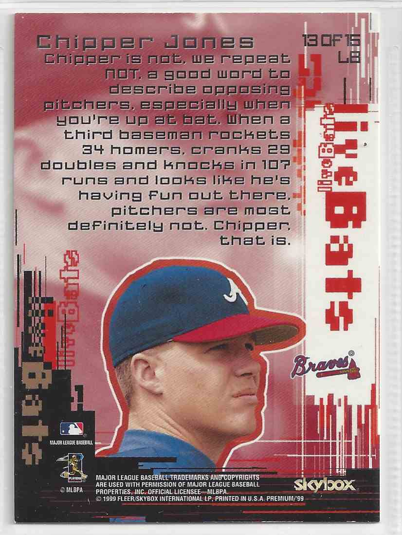 1999 Fleer / Skybox Live Bat Chipper Jones #LB13 card back image