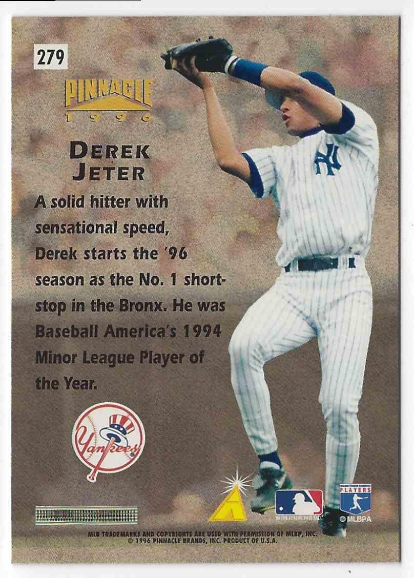 1996 Pinnacle Hardball Heros Derek Jeter #279 card back image