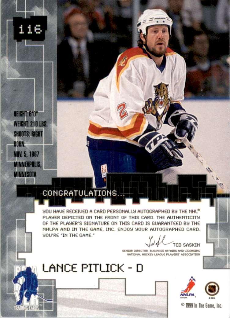 1999-00 Bap Millennium Autographs Lance Pitlick #116 card back image
