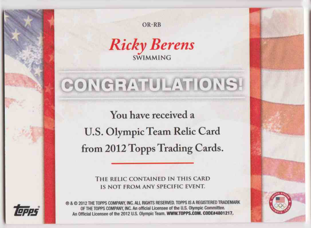 2012 Topps U.S. Olympic Team Relic Ricky Berens #OR-RB card back image