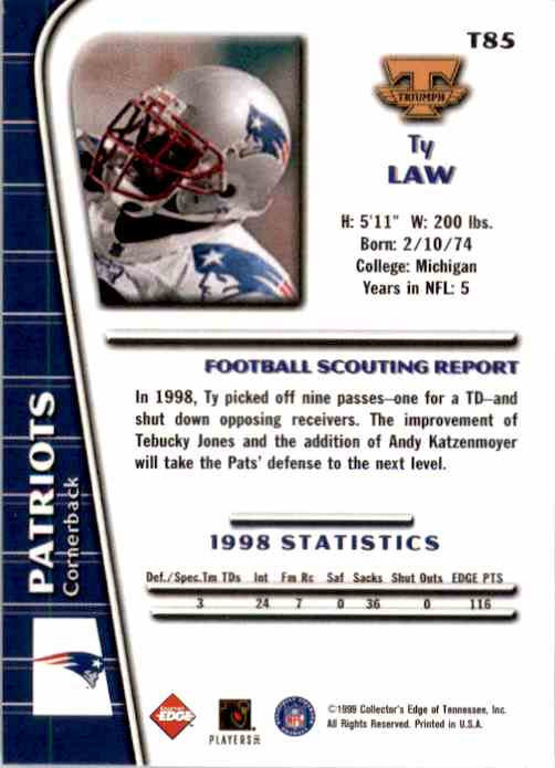 1999 Collector's Edge Triumph Ty Law #T85 card back image