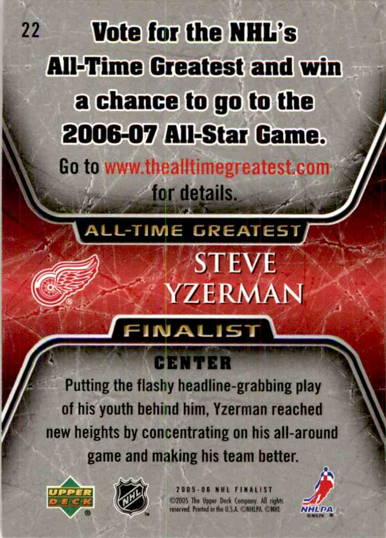 2005-06 Upper Deck All Time Greatest Steve Yzerman #22 card back image