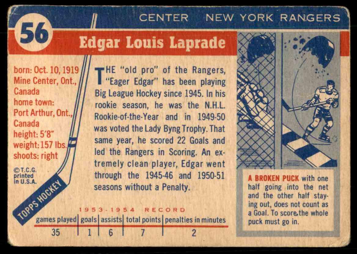 1954-55 Topps Edgar Laprade #56 card back image