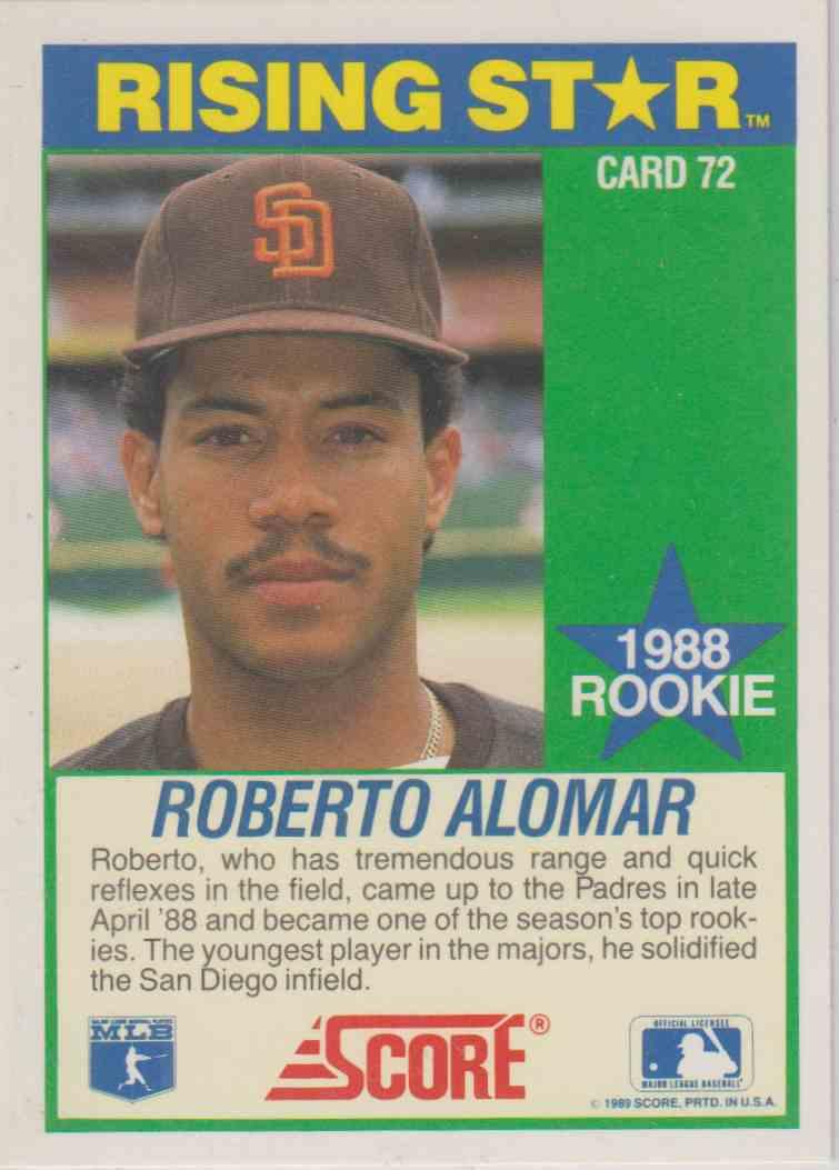1989 Score Hotest 100 Rookies Roberto Alomar 72 On Kronozio